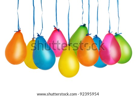 Group of colorful balloons isolated on white background