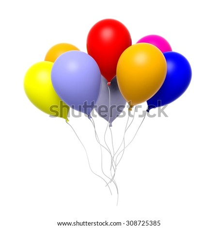 Group of colorful blank balloons isolated on white background