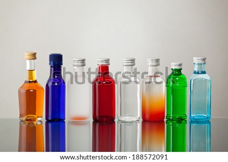 Group of colorful bottles  - stock photo