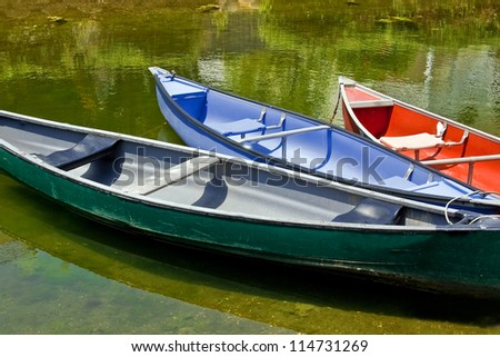 Group of colorful canoes in a river