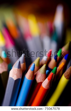 Group of colorful crayons closeup - stock photo