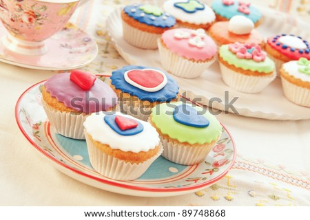 group of colorful cupcakes. - stock photo