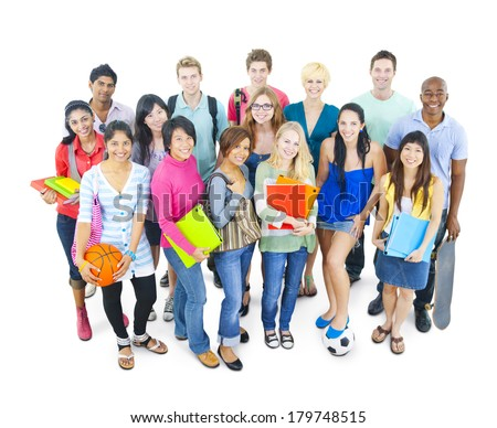 Group of Colorful Diverse World Students - stock photo