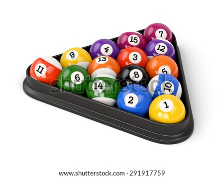 Group of colorful glossy pool game balls with numbers and plastic triangle isolated on white background. Set of pool-balls. - stock photo