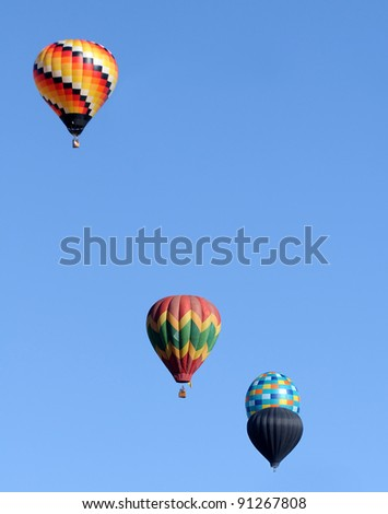 Group of colorful hot air balloons floating in the sky