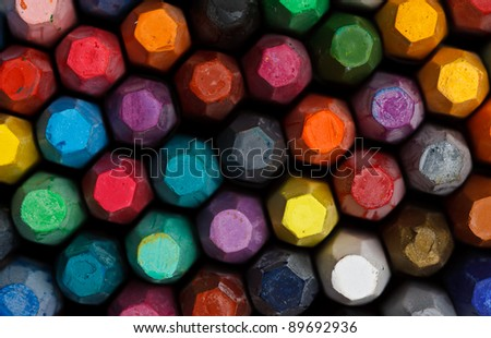 Group  of colorful oil pastels - stock photo