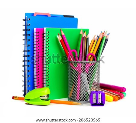 Group of colorful school notebooks and supplies         - stock photo