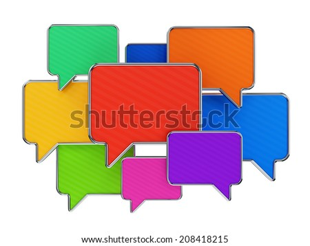Group of colorful speech bubbles isolated on white. Web communication technology, messaging and chatting concept. - stock photo