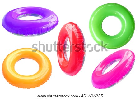 Group of colorful swim ring isolated on white background.