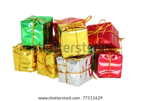 Group of colorfully gift boxes with ribbon isolated on white background - stock photo