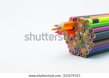 Group of colour wooden pencils on white background - stock photo