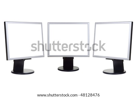 Group of computer monitors isolated on white background - stock photo