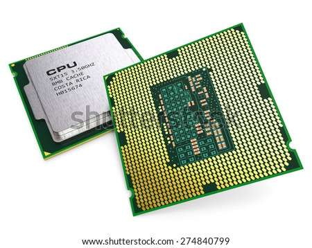 Group of computing processor CPU chips isolated on white background 3d. Hardware technology PC