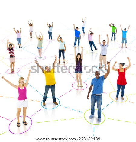 Group of connected young people who are celebrating.  - stock photo