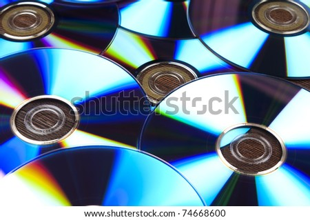 Group of conputer compact discs - stock photo