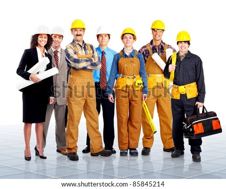 Group of contractors people in uniform. Worker. Construction.