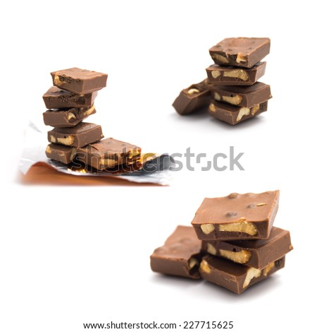 Group of cookie and nut chocolate on isolated white background - stock photo