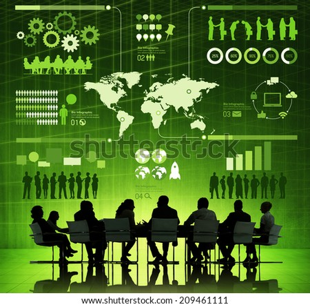 Group of Corporate People Discussing About Global Communication Issues - stock photo