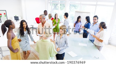 Group of Corporate People having Different Conversations  - stock photo