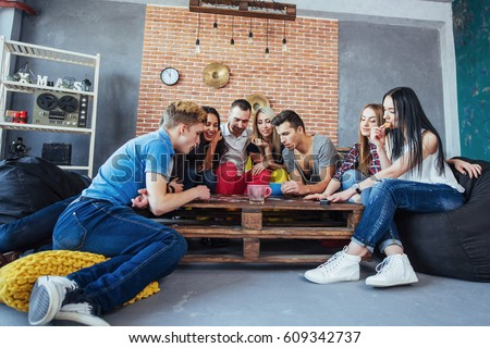 Group Creative Friends Sitting Wooden Table Stock Photo ...