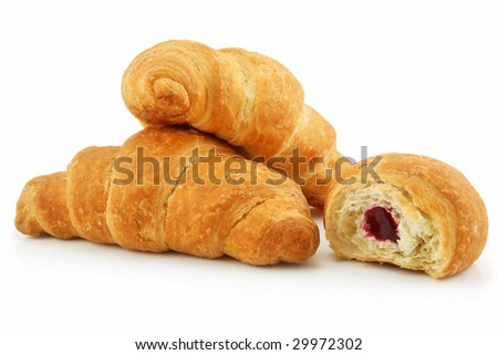 Group of Croissants Isolated on White Background