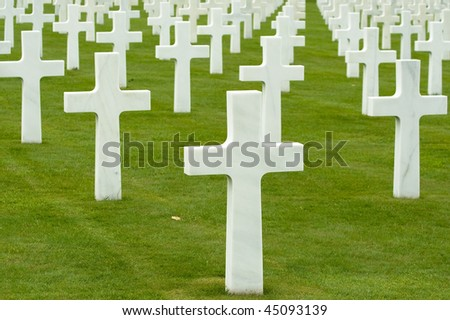 Group of crosses on a military war cemetery - stock photo