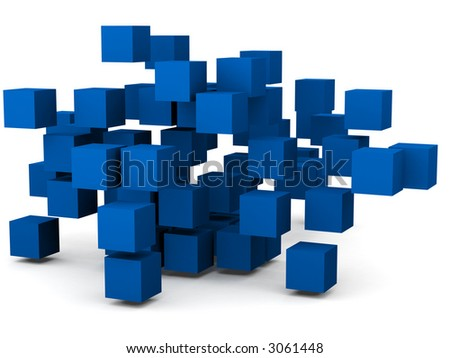 group of cubes all in chaotic pattern