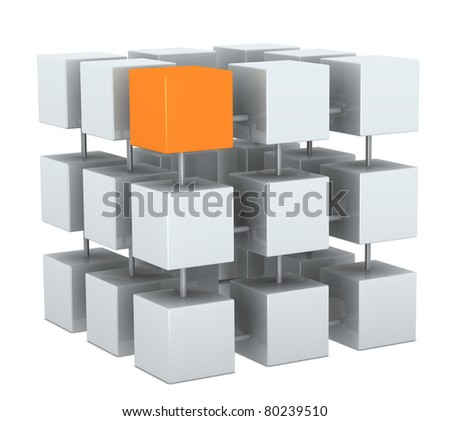 group of cubes connected each other, with one in different color (3d render) - stock photo