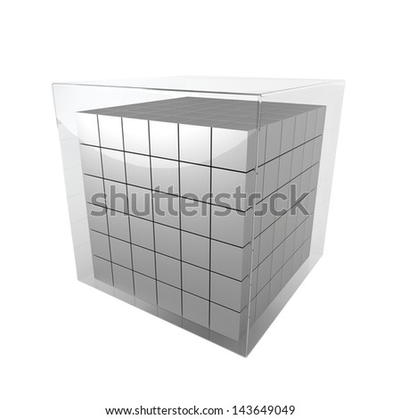 Group of cubes. 3d illustration on white background