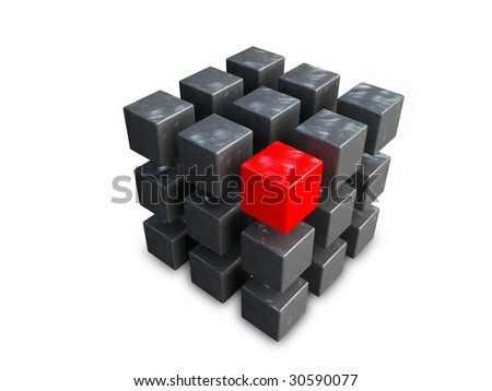 group of cubes of black and red colors on white background - stock photo