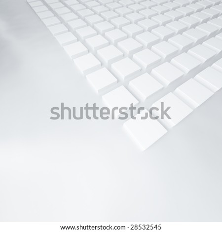 group of cubes of white color on gray background - stock photo