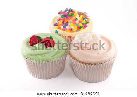 Group of cupcakes isolated on a white background