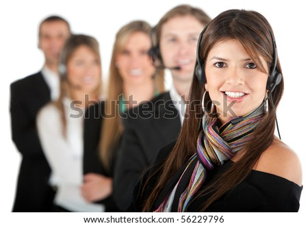 Group of customer support operators - isolated over a white background - stock photo