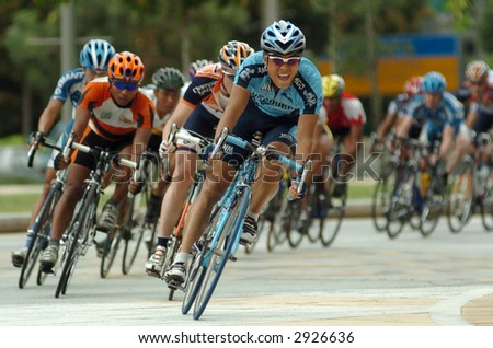 group of cyclist - stock photo