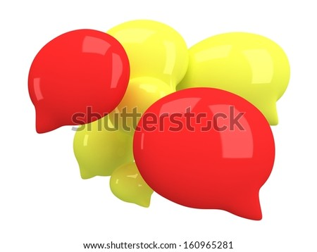 Group of 3d blank speech bubbles isolated on white. Chat symbols, conference concept. Render