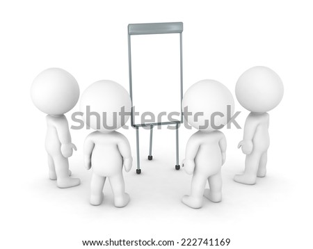 Group of 3D characters gathered around an empty whiteboard, isolated on white