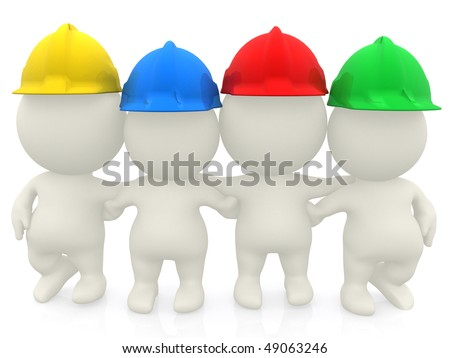 Group of 3D construction workers isolated over a white background - stock photo