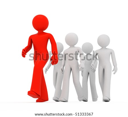 Group of 3D guys follow the leader. - stock photo