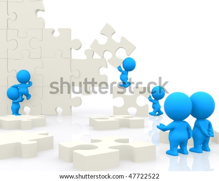 Group of 3D people making a puzzle isolated over a white background - stock photo