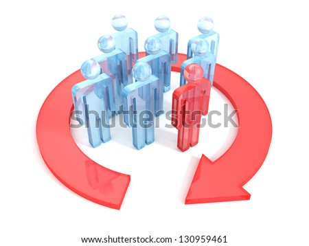 Group of 3d people with leader and arrow around - stock photo
