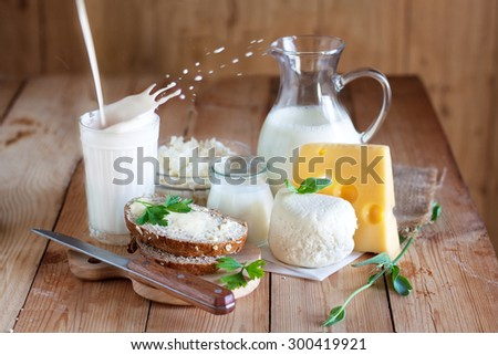 Group of dairy products and splash of milk
