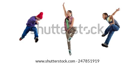 Group of dancer in jump isolated on white - stock photo