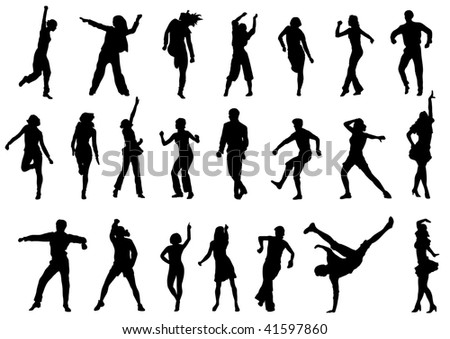 group of dancing people in action illustration