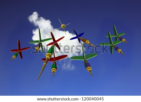 Group of darts downward from above - stock photo