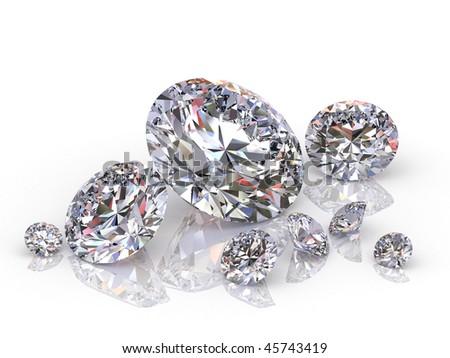 group of diamonds isolated on white background - stock photo