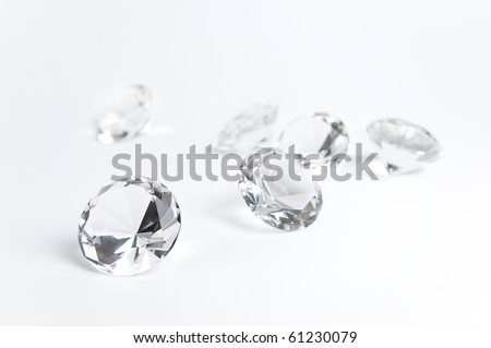 Group of diamonds on a white background. - stock photo
