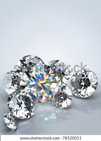 Group of  diamonds on white background. Beautiful sparkling diamond on a light reflective surface. High quality 3d render with. - stock photo