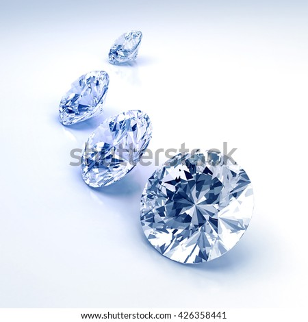 Group of diamonds placed on white background blue tone, 3D illustration.