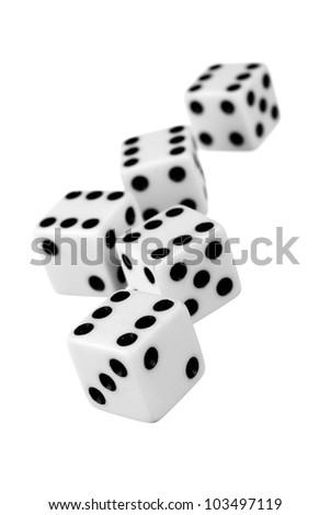 Group of dice isolated on white background