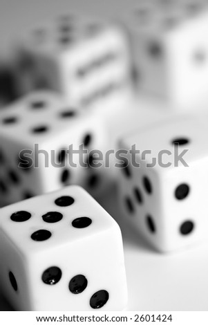 group of 5 die - shallow depth of field - stock photo